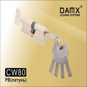 Цилиндровый механизм перфо ключ-вертушка CW80 DAMX PB золото
