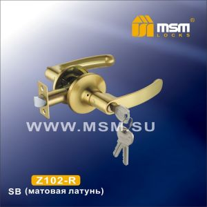 Ручка защелка c ключом Z102-R MSM SB (матовая латунь)