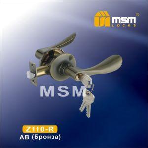Ручка защелка c ключом Z110-R MSM AB (бронза)