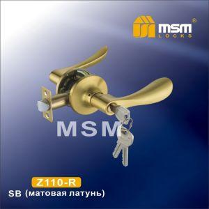 Ручка защелка c ключом Z110-R MSM SB (матовая латунь)