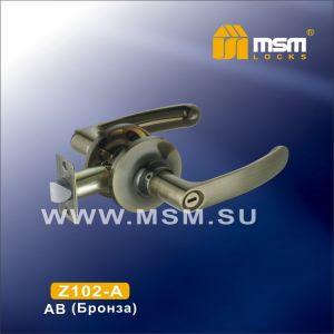 Ручка защелка c фиксатором Z102-A MSM AB (бронза)