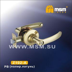 Ручка защелка c фиксатором Z102-A MSM PB  (полир.латунь)