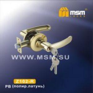 Ручка защелка c ключом Z102-R MSM PB (латунь)