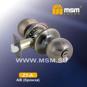 Ручка защелка c фиксатором Z1-A MSM  AB (бронза)