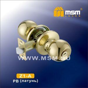 Ручка защелка c фиксатором Z1-A MSM  PB (полир.латунь)