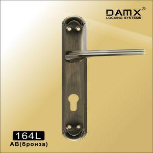 Ручка на планке 164L AB DAMX (85mm) под 4 винта бронза