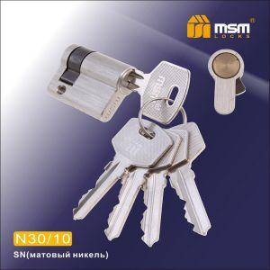 Цилиндровый механизм обычный ключ-ключ N30/10mm SN матовый никель